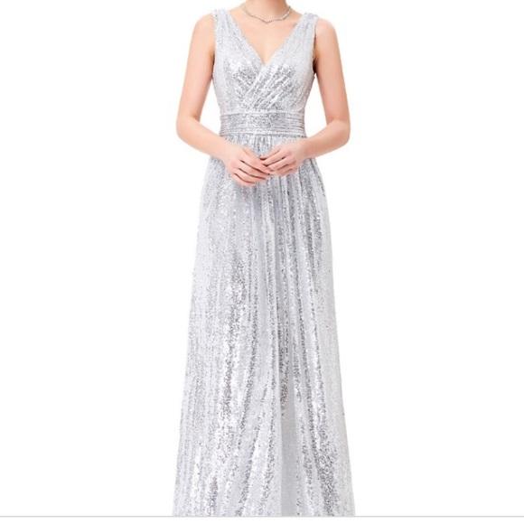 daae069d023568 Kate Kasin Sequin Prom Cruise Bridesmaid Silver